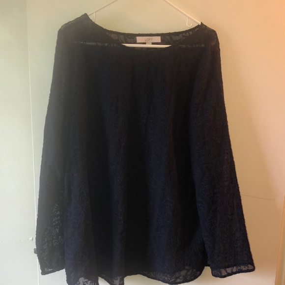 LOFT Tops - Navy blue lace long sleeve